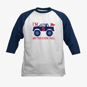 5th Birthday Monster Truck Kids Baseball Jersey