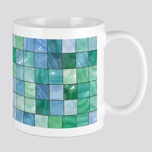 Shiny Blue and Green Tile Mosaic Mugs