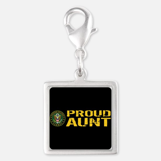 U.S. Army: Proud Aunt Silver Square Charm