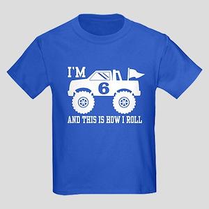 6th Birthday Monster Truck Kids Dark T-Shirt