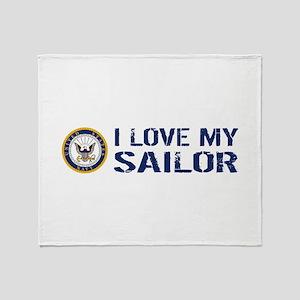 U.S. Navy: I Love My Sailor (Blue & Throw Blanket