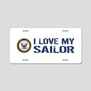 U.S. Navy: I Love My Sailor Aluminum License Plate