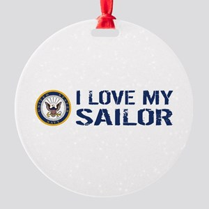 U.S. Navy: I Love My Sailor (Blue & Round Ornament