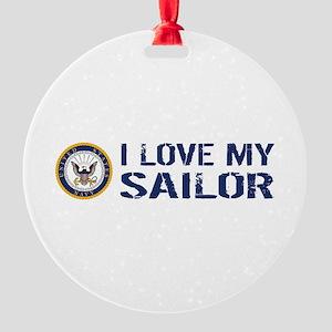 U.S. Navy: I Love My Sailor (Blue & Round Ornament