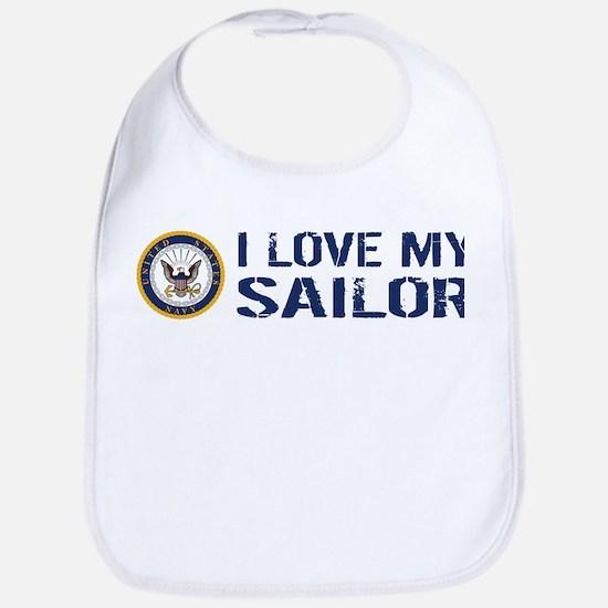 U.S. Navy: I Love My Sailor (Blue & White) Bib