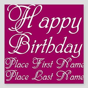 "Happy Birthday Square Car Magnet 3"" x 3"""
