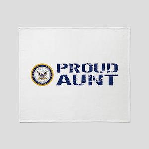 U.S. Navy: Proud Aunt (Blue & White) Throw Blanket