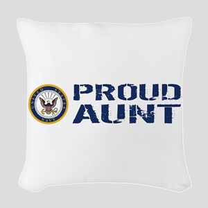 U.S. Navy: Proud Aunt (Blue & Woven Throw Pillow