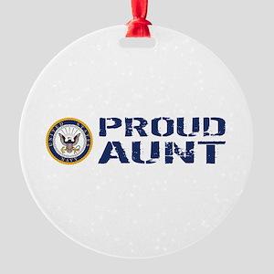 U.S. Navy: Proud Aunt (Blue & White Round Ornament