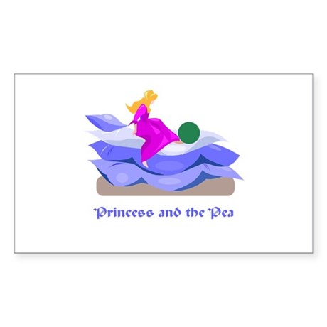 Princess and the pea Rectangle Sticker