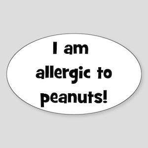 Allergic to Peanuts - Black Oval Sticker
