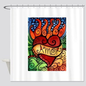 Flaming Milagro Heart Shower Curtain