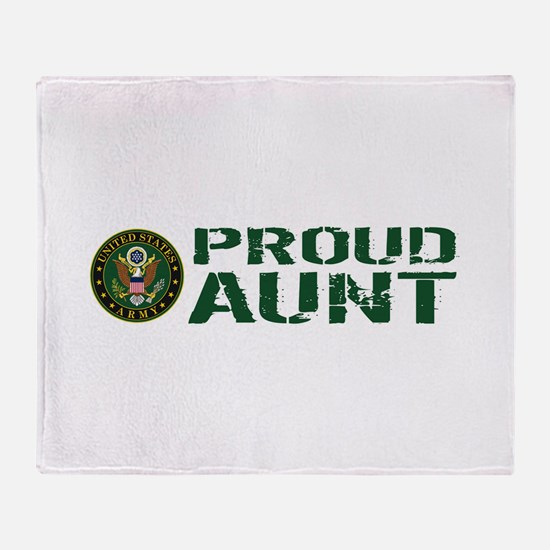 U.S. Army: Proud Aunt (Green & White Throw Blanket