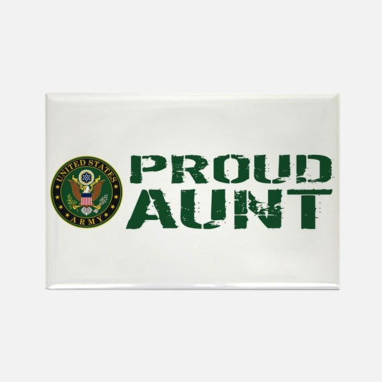 U.S. Army: Proud Aunt (Green & Wh Rectangle Magnet