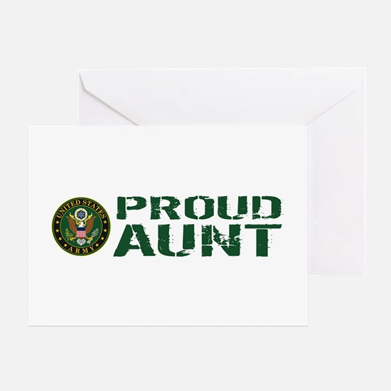U.S. Army: Proud Aunt (Green & White Greeting Card