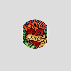 Flaming Milagro Heart Mini Button