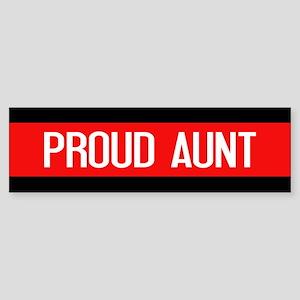 Firefighter: Proud Aunt (Red Line Sticker (Bumper)