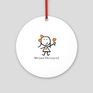 Orange Ribbon - Lucy Lu Ornament (Round)