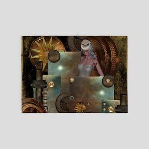 Steampunk, beautiful women with clocks 5'x7'Area R