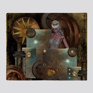 Steampunk, beautiful women with clocks Throw Blank