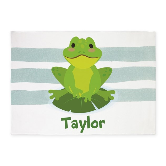 Cute Personalized Frog 5'x7'Area Rug By ClipArtMEGAmart