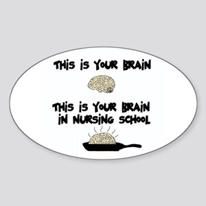 Fried Nursing Student Brain Oval Sticker