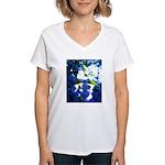 Apple Blossom Blues Women's V-Neck T-Shirt