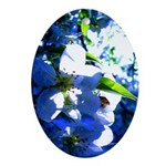 Apple Blossom Blues Oval Ornament