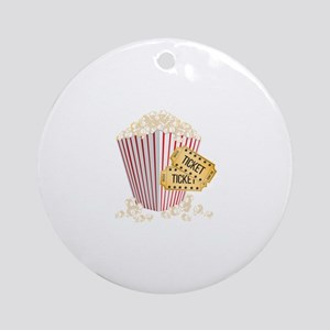 Movie Popcorn Round Ornament