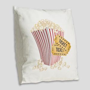 Movie Popcorn Burlap Throw Pillow