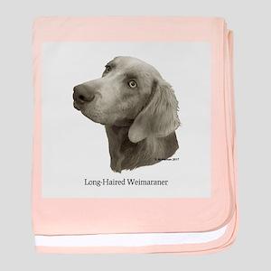 Long-Haired Weimaraner Baby Blanket