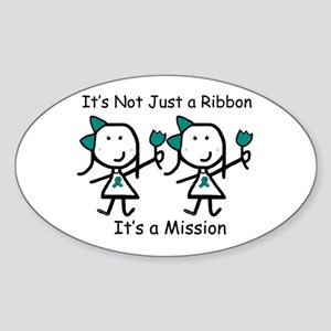 Teal Ribbon - Mission Sisters Oval Sticker