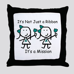 Teal Ribbon - Mission Sisters Throw Pillow