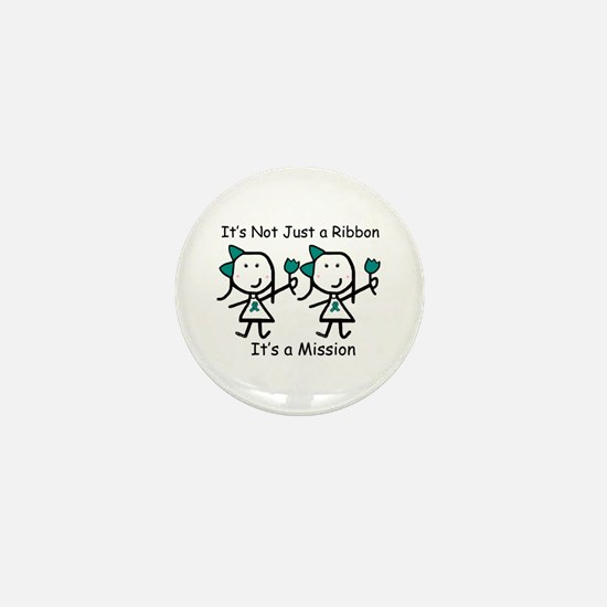 Teal Ribbon - Mission Sisters Mini Button