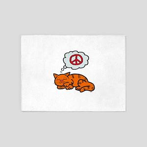 peace kitty 5'x7'Area Rug