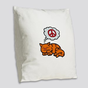 peace kitty Burlap Throw Pillow