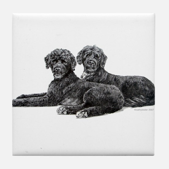 Portuguese Water Dogs Tile Coaster