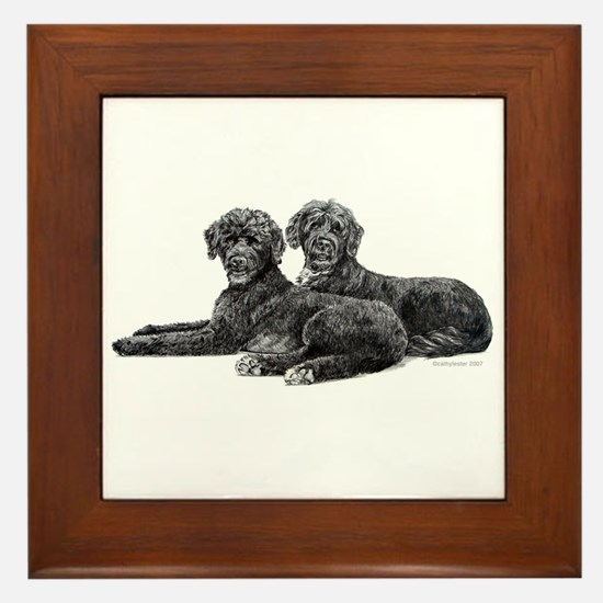 Portuguese Water Dogs Framed Tile