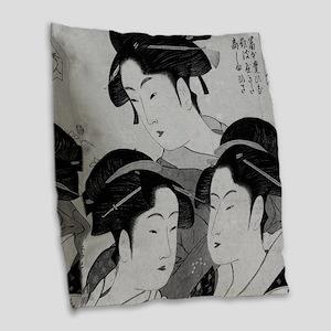 Vintage Japanese Women Burlap Throw Pillow