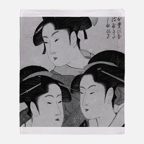 Vintage Japanese Women Throw Blanket