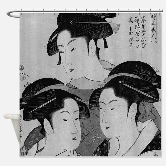 Vintage Japanese Women Shower Curtain