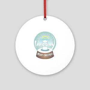 Merry Christmas Globe Round Ornament