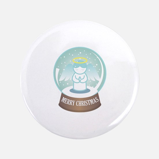 Merry Christmas Globe Button