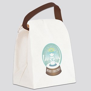 Merry Christmas Globe Canvas Lunch Bag