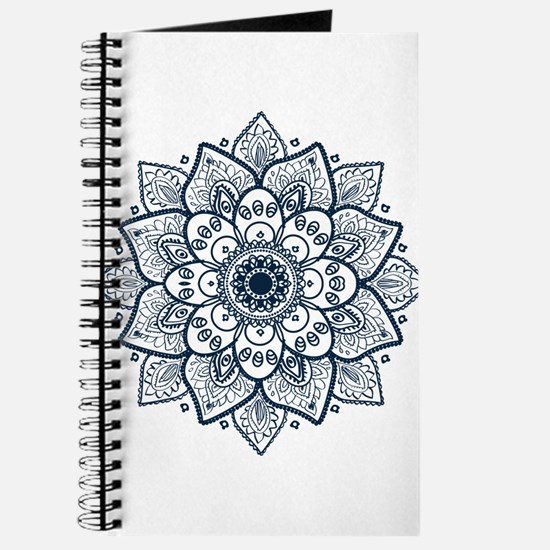 Dark Blue Floral Mandala Journal