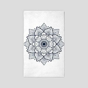 Dark Blue Floral Mandala Area Rug