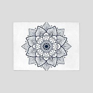 Dark Blue Floral Mandala 5'x7'Area Rug