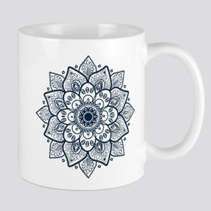 Dark Blue Floral Mandala Mugs