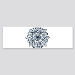 Dark Blue Floral Mandala Bumper Sticker