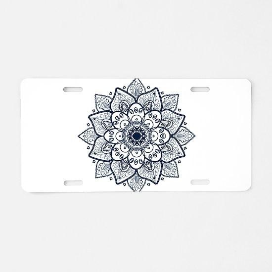 Dark Blue Floral Mandala Aluminum License Plate
